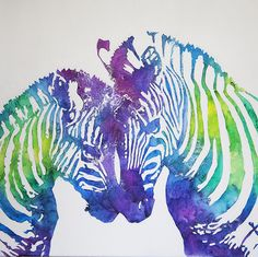 <p>The zebras depicted in this piece are completely made of melted crayons on canvas. All my stencils are hand made, and the crayons are melted and applied one by one until completed. The variations of color tonalities, and the fact that this piece is entirely made of crayon will be a definite conversation starter in your home.</p><p>Every piece is made to order on gallery wrapped canvases, and may not look exactly the same as the picture due to the way the crayon melts and blends together…