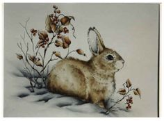 Pattern Packets - First Snow Animal Paintings, Animal Drawings, Pyrography Patterns, Watercolor Design, Watercolor Painting, Decoupage, Ink Pen Drawings, Rabbit Art, Country Paintings