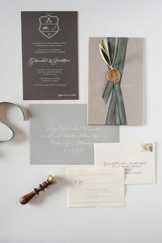 too expensive Gray silk ribbon, custom initial wax seal, crest and white calligraphy wedding invitation by Sarah Drake Designs. Grey Wedding Invitations, Wedding Invitation Inspiration, Unique Invitations, Invitation Paper, Wedding Stationary, Invitation Suite, Invites, Wedding Paper, Wedding Cards