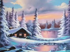 Cabin Scene by Lionel Dougy Dream Pictures, Scenery Pictures, Beautiful Paintings, Beautiful Landscapes, Watercolor Landscape, Landscape Paintings, Kinkade Paintings, Bob Ross Paintings, Winter Painting