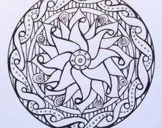 Samdala_003 Mandala design to color; inspired by sacred geometry, Zentangle and other curious shapes. PDF Download includes coloring tips