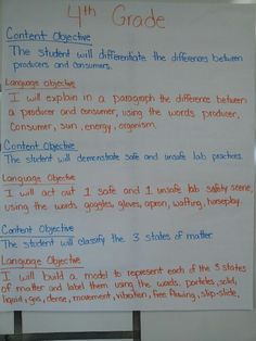 content and language objective sample