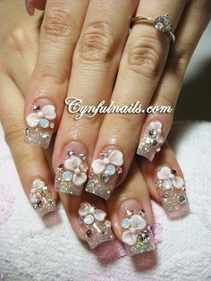 3D Pink Bows with extra bling! #acrylic nail art #rhinestones