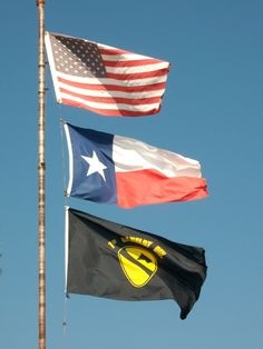 American, Texas and US Army 1st Cav flags