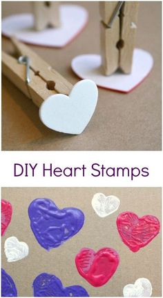 DIY Heart Stamp Art is part of Preschool crafts Valentines - Use basic craft supplies to make your own DIY heart stamps for toddler and preschool art for Valentine's Day or kids' crafts Preschool Art Projects, Valentine's Day Crafts For Kids, Valentine Crafts For Kids, Valentines Day Activities, Holiday Crafts, Art Projects For Toddlers, Preschool Painting, Kids Diy, Valentines Ideas For Preschoolers