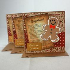 Handmade Christmas cards - Gingerbread men - pack of 3 £4.00