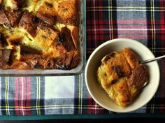This rich bread pudding makes use of a seasonal favorite: panettone. The creamy, soft base is accented with raisins and candied citrus.
