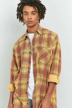 6d4bd09d4b308 Urban Renewal Vintage Customised Orange Plaid Flannel Shirt