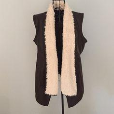 Faux leather vest. Brown faux leather vest with off white faux fur. Jack by BB Dakota Jackets & Coats Vests