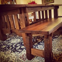 Mission Style Reclaimed White Oak Table/Benches with Leaf