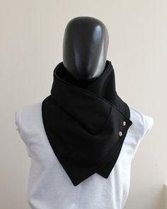 Unisex scarf. Men and women cowl,Wide, Black wool with metalic snaps . Trendy, modern, chunky  and cozy.