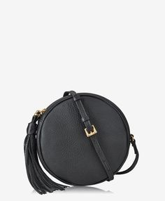 Zoey Crossbody In Black Pebble Grain Leather Black pebble grain leather Leather Crossbody Bag, Leather Handbags, Leather Bag, Circle Purse, Designer Crossbody Bags, Round Bag, Black Pebbles, Vintage Style Dresses, Small Bags