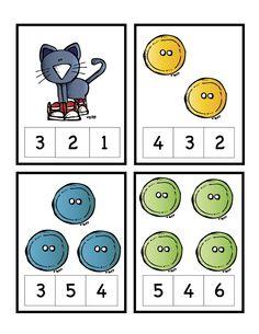 Número del gatito Tarjetas ~ preescolar Imprimibles