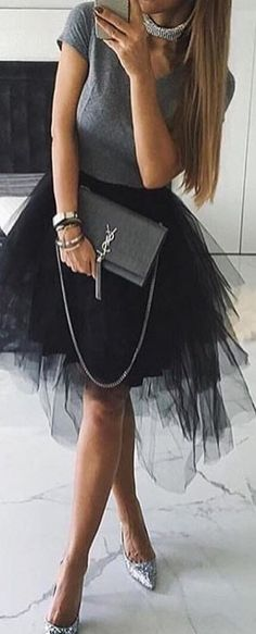 #winter #outfits gray and black v-neck cap-sleeve dress