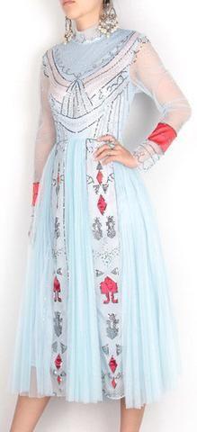 Bead Embellished Tulle Dress - Light Blue
