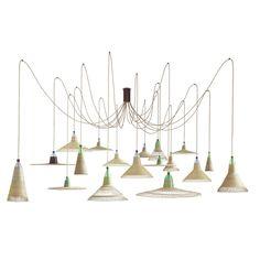Contemporary chandelier / steel / fluorescent / handmade CHIMBARONGO : SET OF 18 Petlamp Studio