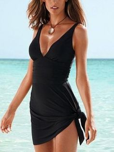 Attractive V-neck Halter One-piece Swimwear with Skirt Black  $22.95 http://www.sensationofnight.com/attractive-v-neck-halter-one-piece-swimwear-with-skirt-black-sj3127.html