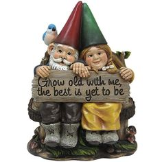 GROW OLD WITH ME MR AND MRS GNOME GARDEN LAWN DECOR STATUE FIGURINE