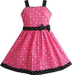 Mädchen Kleid Herz Drucken Rosa Gr.116-122