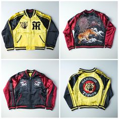 Japanese Wagara Vintage OSAKA Hanshin Tigers Tora Mt. Fuji Fujisan Sukajan Skajan Jacket - Japan Lover Me Store