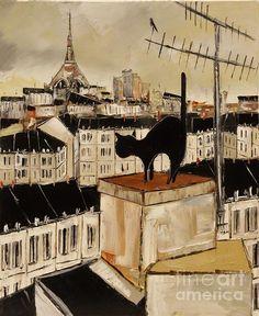 Atelier De Jiel - Black Cat and Bird in Paris Roofs