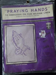 """Praying Hands To Embroider on Pure Belgian Linen Embroidery 12"""" x 15"""" #Unbranded #15968"""
