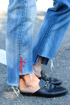 Le Fashion Blog Fall Style Embroidered Jeans Fray Black Leather Loafers Via…