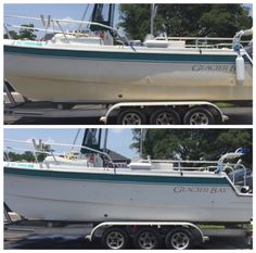 Use Bar Keepers Friend on fiberglass boats.