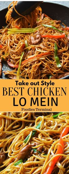 Make this Takeout style chicken lo mein recipe thats so easy to make. Perfectly cooked lo mein noodles stir fried with veggies and juicy chicken pieces with the best homemade lo mein sauce ever. Homemade Chinese Food, Easy Chinese Recipes, Asian Recipes, New Recipes, Dinner Recipes, Cooking Recipes, Favorite Recipes, Healthy Recipes, Chinese Noodle Recipes
