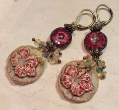 by Sheri Mallery,   Handmade Artisan Marsala Flower Earrings by SheriMalleryHandwork