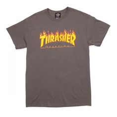 Thrasher Flame T-Shirt - Charcoal ($23) ❤ liked on Polyvore featuring tops, t-shirts, charcoal t shirt, charcoal tee, charcoal gray t shirt and charcoal grey t shirt