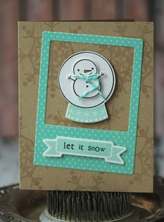 Let It Snow - frosty in a snow globe - handmade holiday cards - set of 5. $12.50, via Etsy.