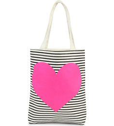 BANDO - Striped heart canvas tote bag   Selfridges.com