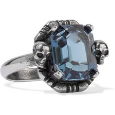 Alexander McQueenRuthenium-tone Swarovski Crystal Ring ($265) ❤ liked on Polyvore featuring jewelry, rings, silver, vintage charm, skull jewelry, swarovski crystal rings, swarovski crystal charms and vintage jewelry