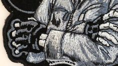 Biker Dude Skull Small Patch In Gray Off Black, Black And Grey, Gray, Biker Patches, Iron On Patches, Biker Wear, Black Gloves, Skull, Vest