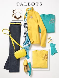yellow and aqua- fall fashion Beaded Corsage Sweater Look Fashion, Spring Fashion, Winter Fashion, Mode Outfits, Fashion Outfits, Womens Fashion, Fashion Trends, Classy Outfits, Casual Outfits