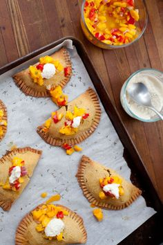 Our Four Forks gives empanadas a tropical twist by stuffing the flaky pockets with sweet potato and topping them with a bright mango salsa.