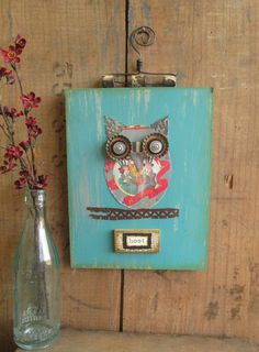 Wall Art-Mixed Media Upcycled Hoot Owl in Blue from Sue Guzik of Fly Me Home, home decor, made of recycled materials on Etsy, $36.00