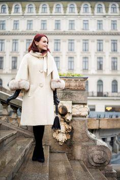 The fabulous Lilli Ann – Andreea Balaban Cold Weather Fashion, Winter Fashion, Dita Von Teese, Stuart Weitzman, Fur Coat, Vintage Fashion, Hair Beauty, Classy, Black And White
