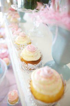 Rose Cupcakes at Ladies Vintage High Tea Party by Sugar Coated Mama, via Kara's Party Ideas karaspartyideas.com #vintage #tea #party #ideas