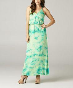Lime & Turquoise Tie-Dye Surplice Maxi Dress