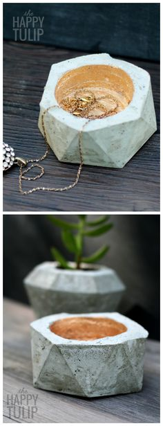 Two DIY Geometric Concrete Projects to Use as Planters or Jewelry / Ring Dishes