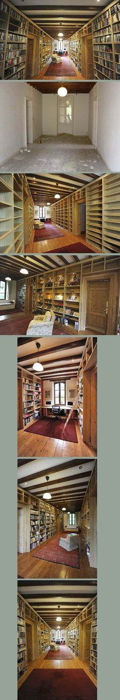 The owner of a country house in France wanted to use a corridor as a library/office. He bought 60 Billy & Benno bookcases from Ikea and cut some of them to fit. At one end he built a desk and at the other, a sofabed as a place to curl up and read. From Ikea Hacks and Flickr.