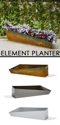 "Taking inspiration from the organic shapes found in nature, these Element Architectural Planters bring a modern and sophisticated look to any space.  Indoors or out, these containers compliment the blooms and growth of plants, creating a cohesive and refined look.  Available in three sizes (16"", 19"", 44"") and materials (Corten Steel, Silver, Pewter) which can stand alone or create a unique garden arrangement."