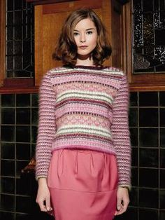 Karolin - Knit this women's slip stitch sweater from Rowan Knitting  Crochet Magazine 56, a design by Lisa Richardson using the luxury Mohair Haze (mohair  wool). With set in contrast patterned sleeves, this knitting pattern is for the intermediate knitter.