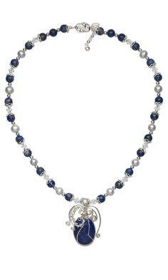 Jewelry Design - Single-Strand Necklace with Lapis Lazuli, Cultured Freshwater Pearls, Swarovski Crystal Beads, Gemstone Beads and Cabochon and Wirework - Fire Mountain Gems and Beads
