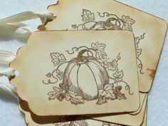 Glittery Pumpkin Tag Fall Tag Autumn Gift Tag by WitsEndDesign, $4.25