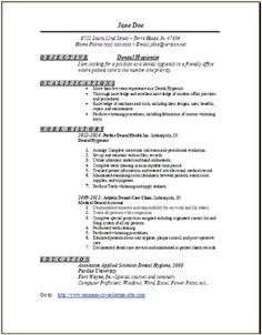 Dental Hygienist Resume Objective Dental Hygiene Resume