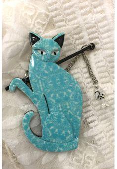 The Famous Fishing Cat Erstwilder Brooch Shades Of Turquoise, Teal, Aqua, Fishing Cat, Catfish, Fused Glass, Pet Birds, Boho Fashion, Blue Green