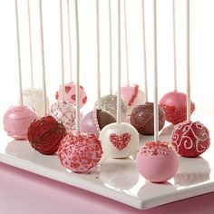 Valentine's Day Cake Ball Pops - Need a few Valentine's cake pop decorating ideas? We have a few easy ways to create heartfelt cake pops to give as treats to your sweethearts. Candy Melts candy and Wilton Sprinkles make them even more tempting! Valentine Desserts, Valentines Day Desserts, Valentine Cake, Valentines Day Party, Valentines Cake Pops Recipe, Valentines Cakepops, Birthday Desserts, Valentine Treats, Wilton Cake Decorating